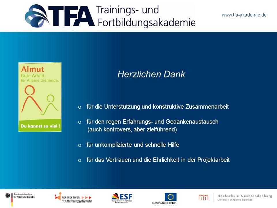 www.tfa-akademie.de o für die Unterstützung und konstruktive Zusammenarbeit o für den regen Erfahrungs- und Gedankenaustausch (auch kontrovers, aber z