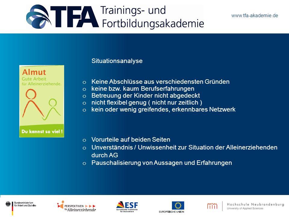 www.tfa-akademie.de Situationsanalyse o Keine Abschlüsse aus verschiedensten Gründen o keine bzw. kaum Berufserfahrungen o Betreuung der Kinder nicht