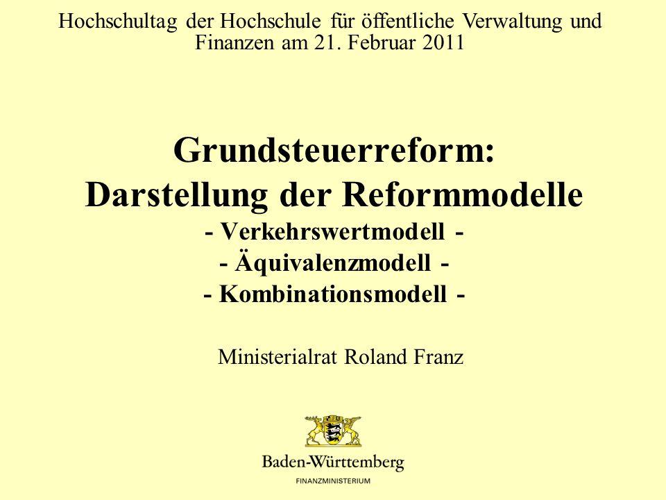 Grundsteuerreform: Darstellung der Reformmodelle - Verkehrswertmodell - - Äquivalenzmodell - - Kombinationsmodell - Hochschultag der Hochschule für öf
