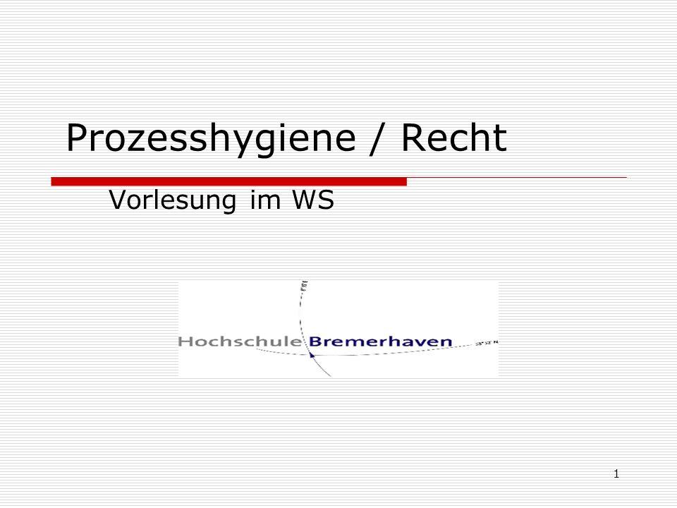 Prozesshygiene / Recht Vorlesung im WS 1