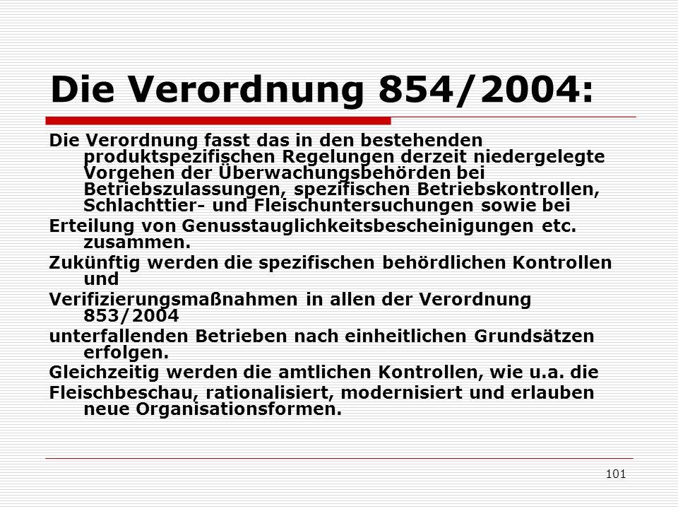 Die Verordnung 854/2004: Die Verordnung fasst das in den bestehenden produktspezifischen Regelungen derzeit niedergelegte Vorgehen der Überwachungsbeh