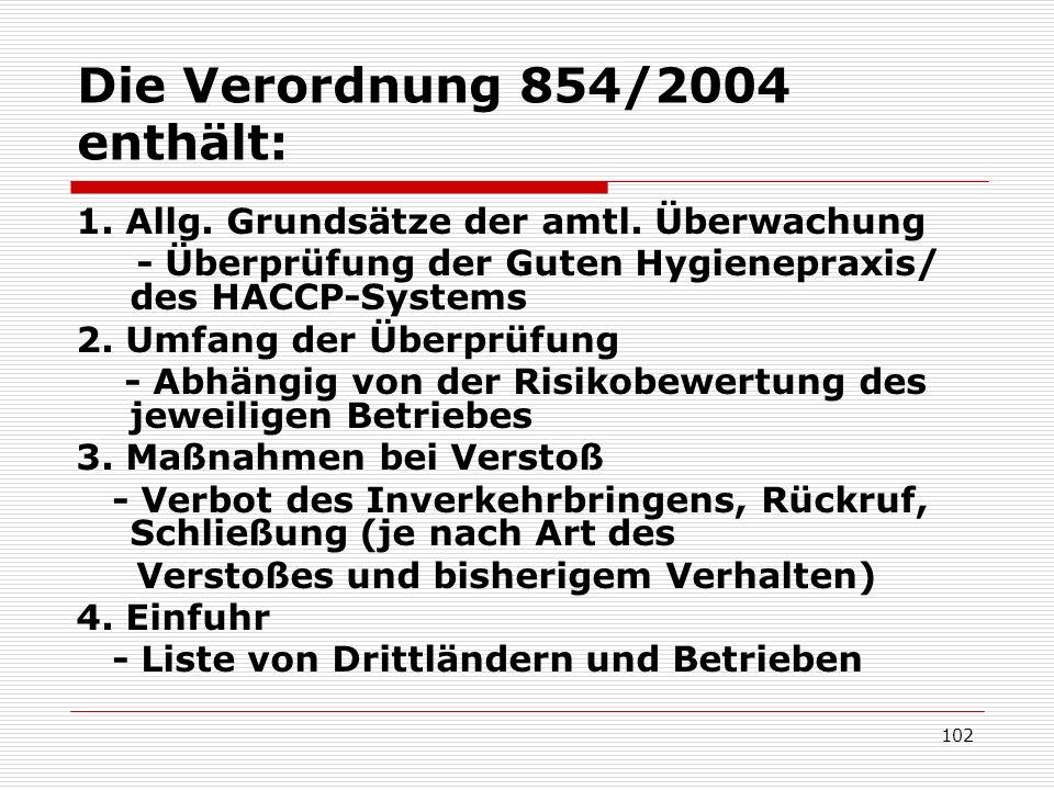 Die Verordnung 854/2004 enthält: 1. Allg. Grundsätze der amtl. Überwachung - Überprüfung der Guten Hygienepraxis/ des HACCP-Systems 2. Umfang der Über