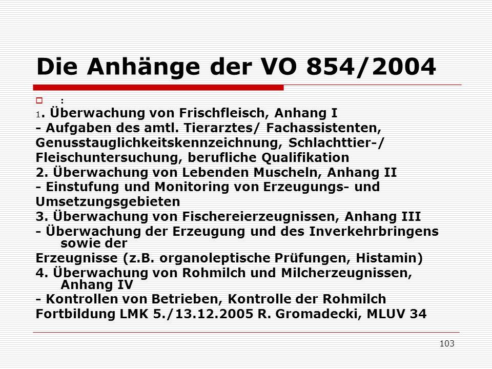 Die Anhänge der VO 854/2004 : 1. Überwachung von Frischfleisch, Anhang I - Aufgaben des amtl. Tierarztes/ Fachassistenten, Genusstauglichkeitskennzeic