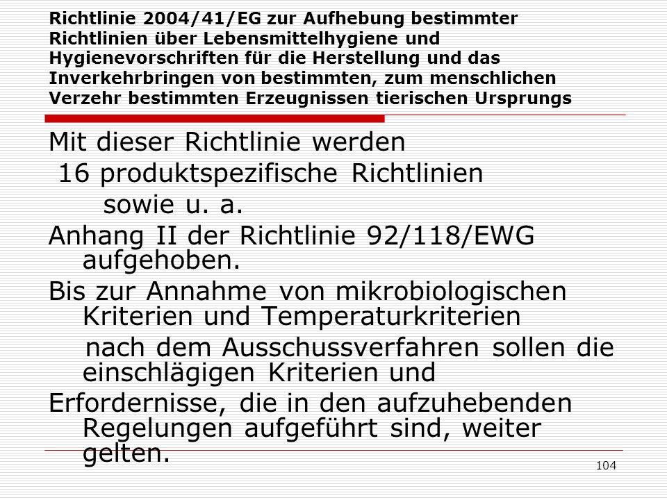 Richtlinie 2004/41/EG zur Aufhebung bestimmter Richtlinien über Lebensmittelhygiene und Hygienevorschriften für die Herstellung und das Inverkehrbring
