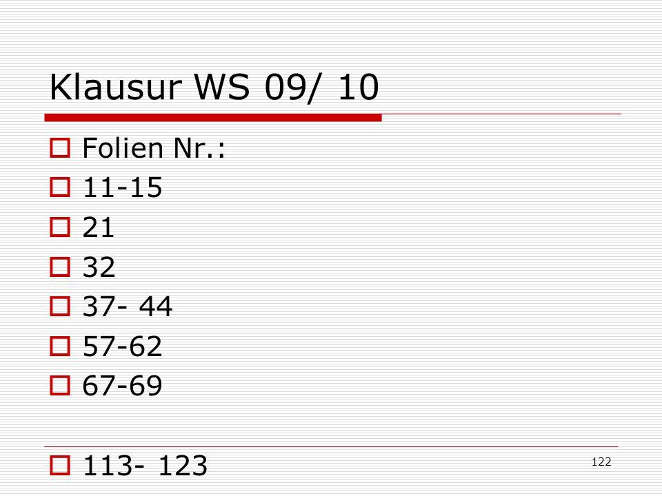 Klausur WS 09/ 10 Folien Nr.: 11-15 21 32 37- 44 57-62 67-69 113- 123 122