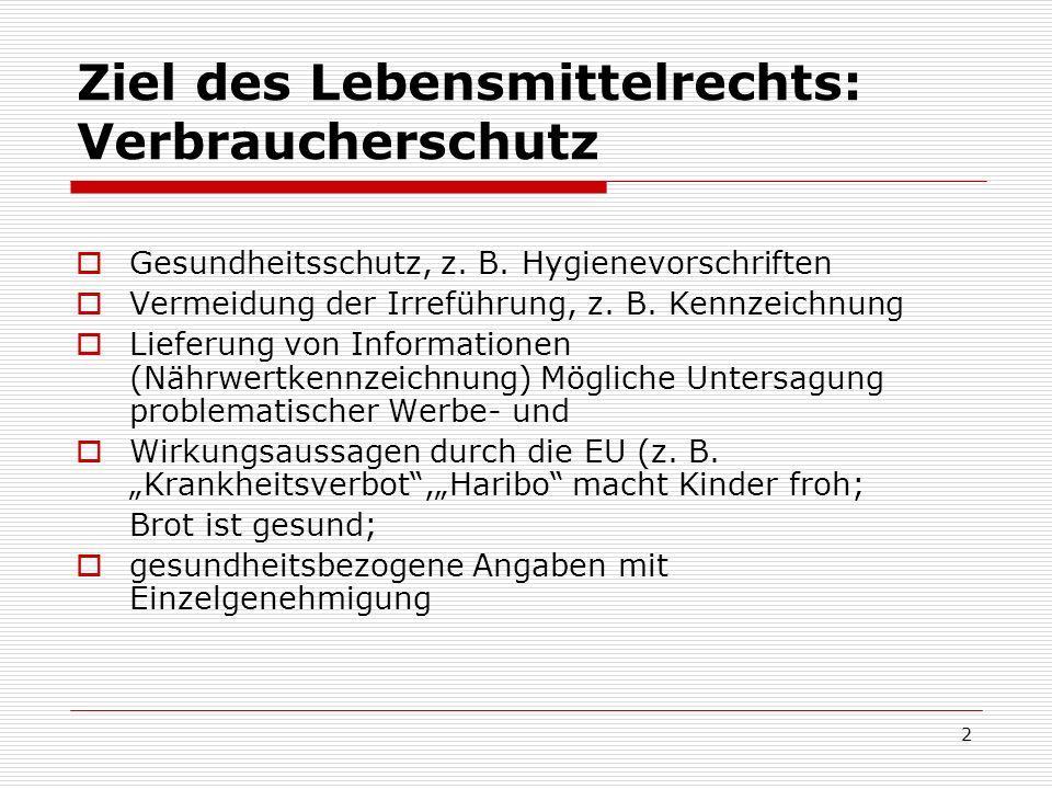 Übersicht über die lebensmittelrechtlichen Anforderungen der Bundesrepublik Deutschland Das deutsche Lebensmittelrecht ist aufgeteilt in: Horizontale Vorschriften, d.h.