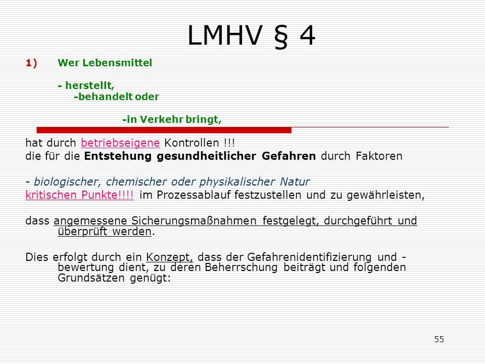LMHV § 4 1)Wer Lebensmittel - herstellt, -behandelt oder -in Verkehr bringt, hat durch betriebseigene Kontrollen !!! die für die Entstehung gesundheit