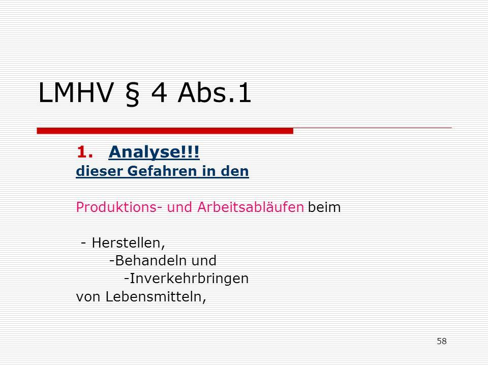 LMHV § 4 Abs.1 1.Analyse!!! dieser Gefahren in den Produktions- und Arbeitsabläufen beim - Herstellen, -Behandeln und -Inverkehrbringen von Lebensmitt
