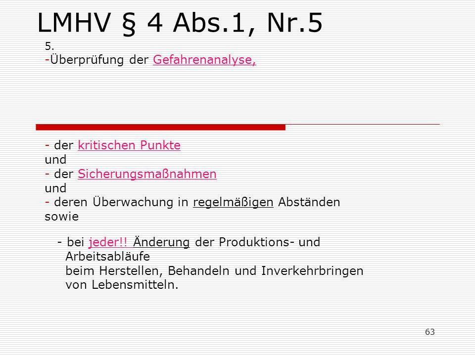 LMHV § 4 Abs.1, Nr.5 5. -Überprüfung der Gefahrenanalyse, - der kritischen Punkte und - der Sicherungsmaßnahmen und - deren Überwachung in regelmäßige