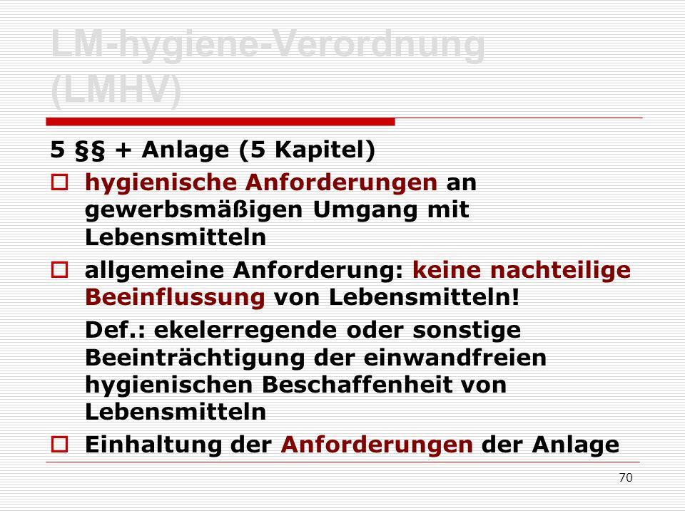 LM-hygiene-Verordnung (LMHV) 5 §§ + Anlage (5 Kapitel) hygienische Anforderungen an gewerbsmäßigen Umgang mit Lebensmitteln allgemeine Anforderung: ke