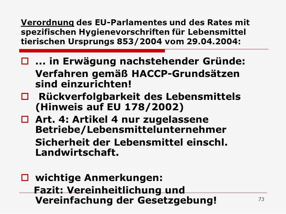 Verordnung des EU-Parlamentes und des Rates mit spezifischen Hygienevorschriften für Lebensmittel tierischen Ursprungs 853/2004 vom 29.04.2004:...in E