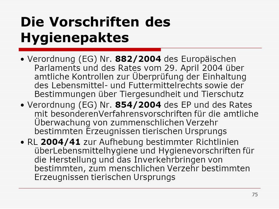Die Vorschriften des Hygienepaktes Verordnung (EG) Nr. 882/2004 des Europäischen Parlaments und des Rates vom 29. April 2004 über amtliche Kontrollen