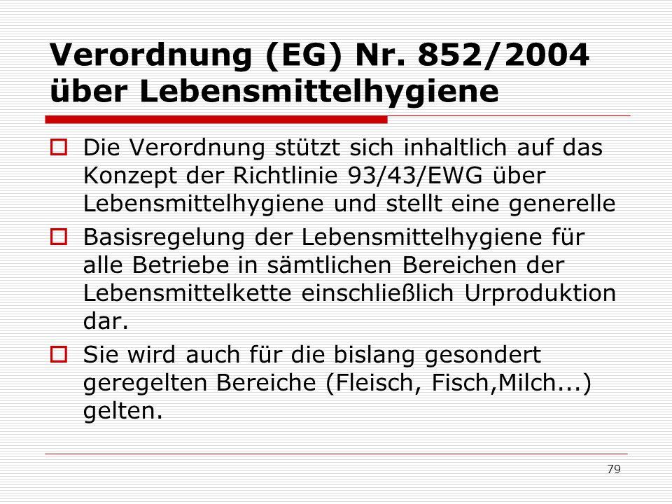 Verordnung (EG) Nr. 852/2004 über Lebensmittelhygiene Die Verordnung stützt sich inhaltlich auf das Konzept der Richtlinie 93/43/EWG über Lebensmittel