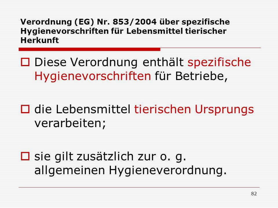 Verordnung (EG) Nr. 853/2004 über spezifische Hygienevorschriften für Lebensmittel tierischer Herkunft Diese Verordnung enthält spezifische Hygienevor