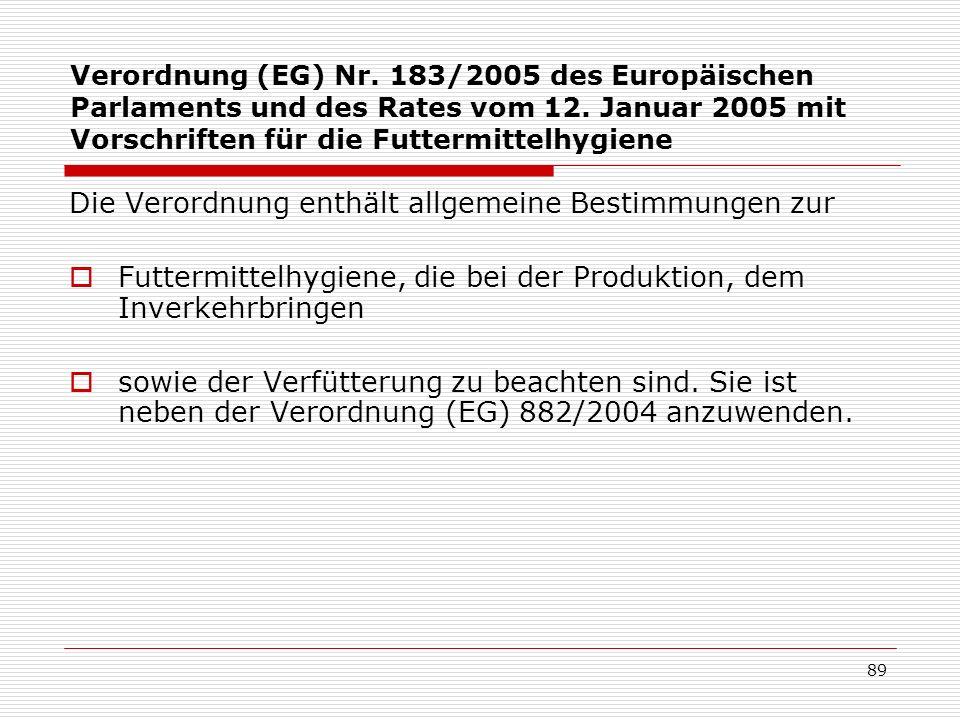 Verordnung (EG) Nr. 183/2005 des Europäischen Parlaments und des Rates vom 12. Januar 2005 mit Vorschriften für die Futtermittelhygiene Die Verordnung