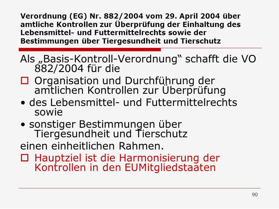 Verordnung (EG) Nr. 882/2004 vom 29. April 2004 über amtliche Kontrollen zur Überprüfung der Einhaltung des Lebensmittel- und Futtermittelrechts sowie