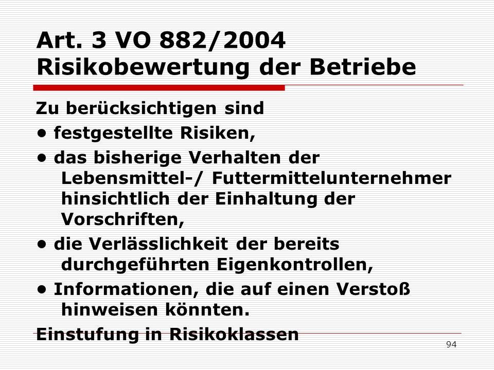 Art. 3 VO 882/2004 Risikobewertung der Betriebe Zu berücksichtigen sind festgestellte Risiken, das bisherige Verhalten der Lebensmittel-/ Futtermittel
