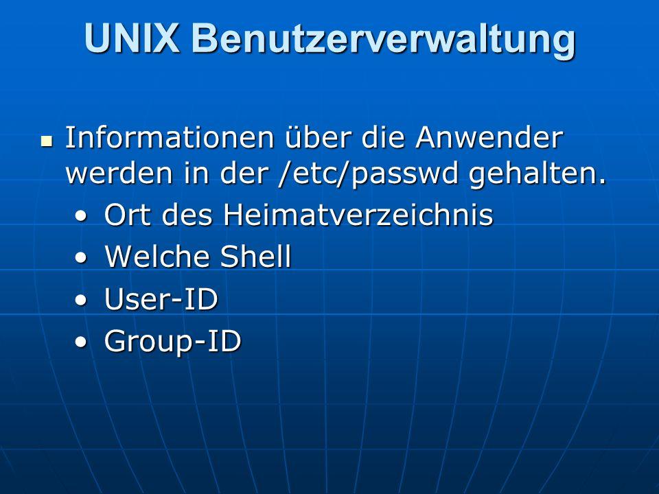 UNIX Benutzerverwaltung Informationen über die Anwender werden in der /etc/passwd gehalten. Informationen über die Anwender werden in der /etc/passwd