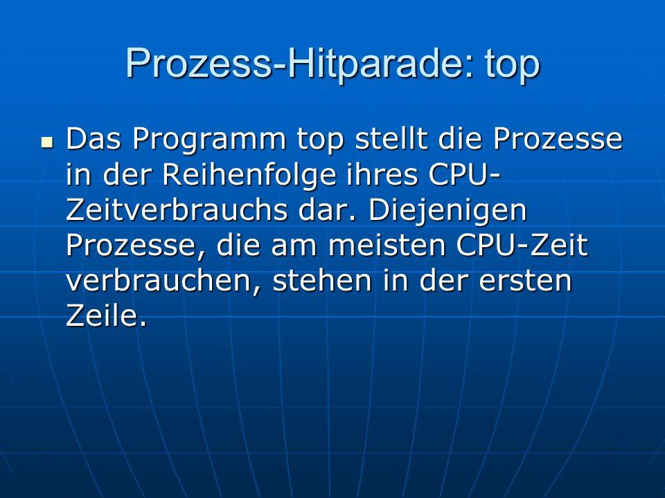 Prozess-Hitparade: top Das Programm top stellt die Prozesse in der Reihenfolge ihres CPU- Zeitverbrauchs dar. Diejenigen Prozesse, die am meisten CPU-