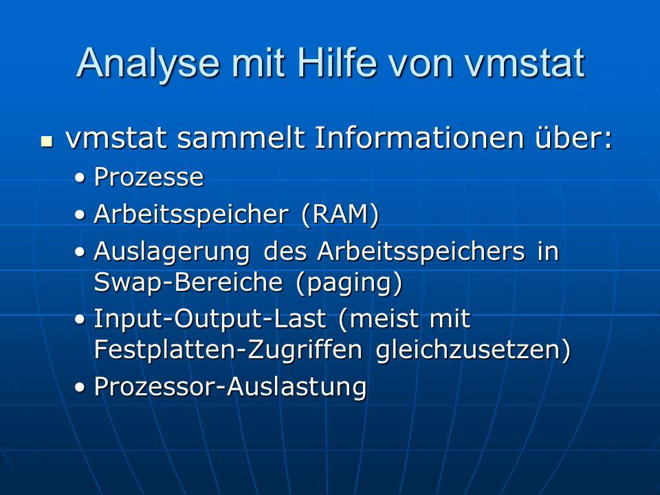 Analyse mit Hilfe von vmstat vmstat sammelt Informationen über: vmstat sammelt Informationen über: ProzesseProzesse Arbeitsspeicher (RAM)Arbeitsspeich