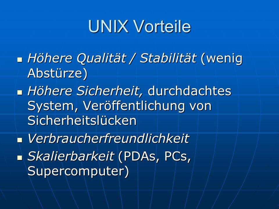 UNIX Vorteile Höhere Qualität / Stabilität (wenig Abstürze) Höhere Qualität / Stabilität (wenig Abstürze) Höhere Sicherheit, durchdachtes System, Verö