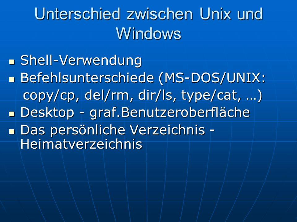 Unterschied zwischen Unix und Windows Shell-Verwendung Shell-Verwendung Befehlsunterschiede (MS-DOS/UNIX: Befehlsunterschiede (MS-DOS/UNIX: copy/cp, d