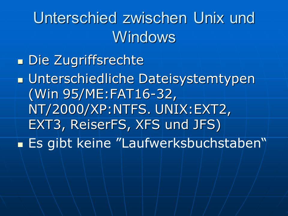 Unterschied zwischen Unix und Windows Die Zugriffsrechte Die Zugriffsrechte Unterschiedliche Dateisystemtypen (Win 95/ME:FAT16-32, NT/2000/XP:NTFS. UN