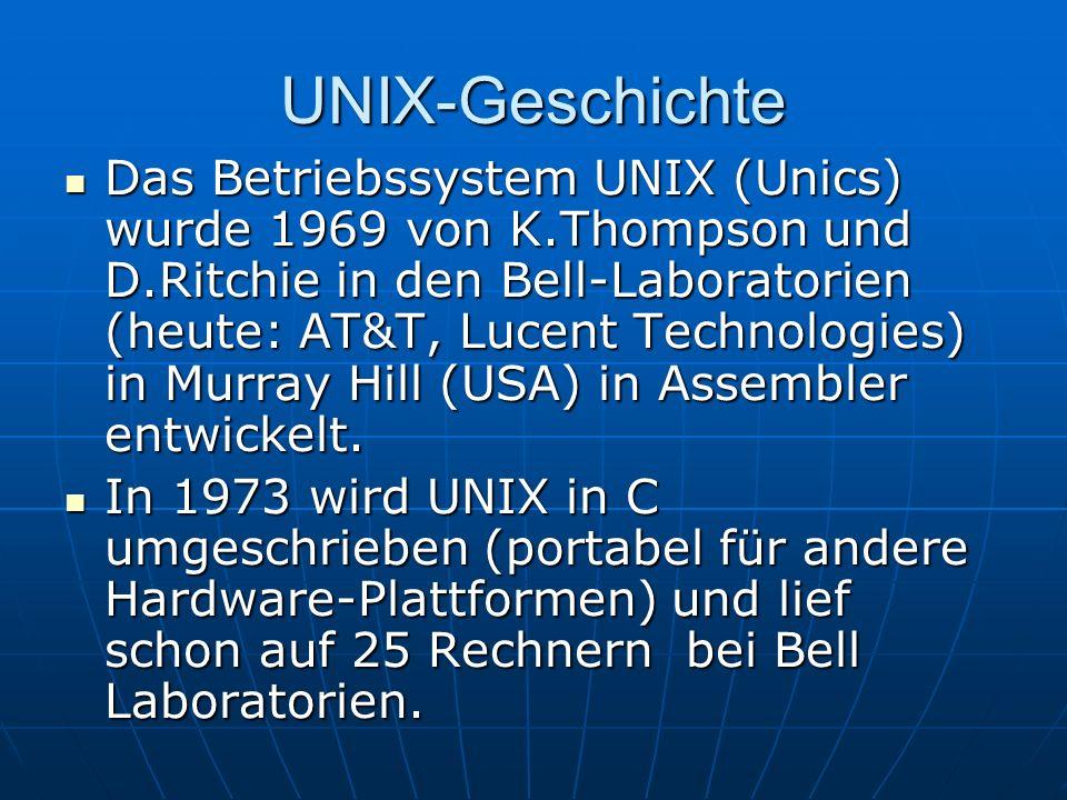 UNIX-Geschichte Das Betriebssystem UNIX (Unics) wurde 1969 von K.Thompson und D.Ritchie in den Bell-Laboratorien (heute: AT&T, Lucent Technologies) in