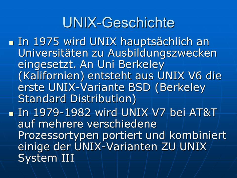 UNIX-Geschichte In 1975 wird UNIX hauptsächlich an Universitäten zu Ausbildungszwecken eingesetzt. An Uni Berkeley (Kalifornien) entsteht aus UNIX V6
