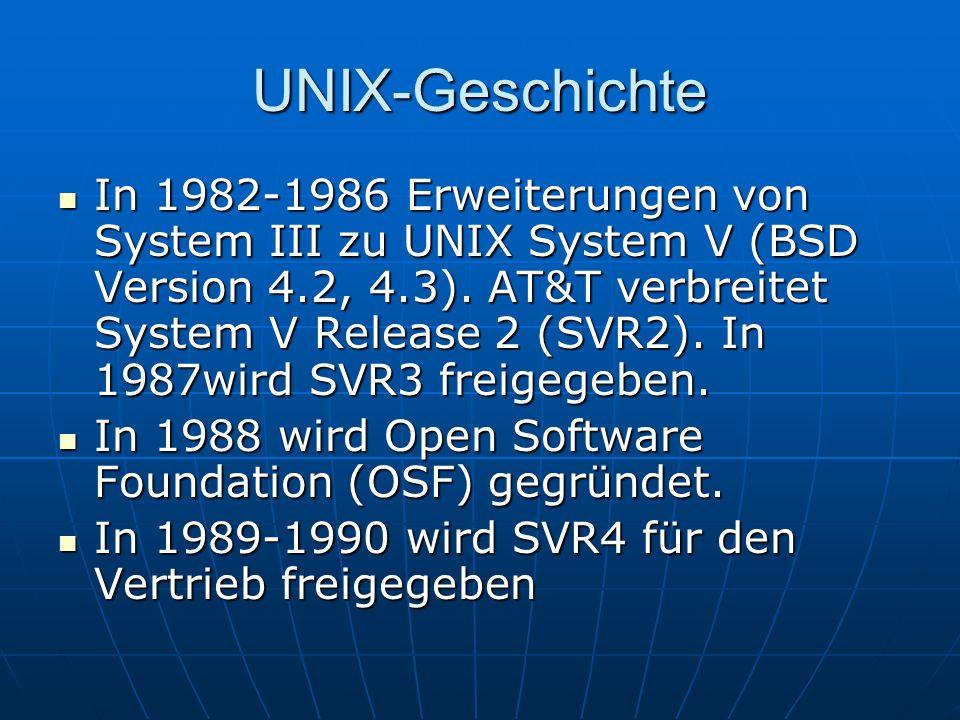UNIX-Geschichte In 1982-1986 Erweiterungen von System III zu UNIX System V (BSD Version 4.2, 4.3). AT&T verbreitet System V Release 2 (SVR2). In 1987w