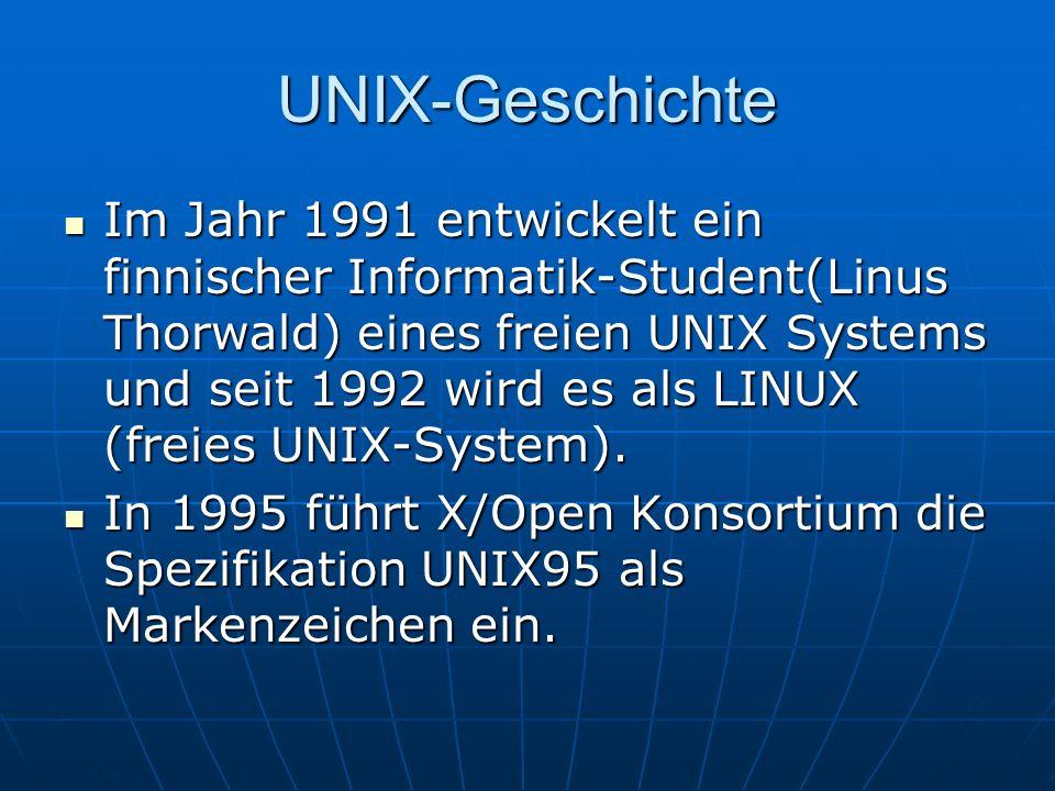 UNIX-Geschichte Im Jahr 1991 entwickelt ein finnischer Informatik-Student(Linus Thorwald) eines freien UNIX Systems und seit 1992 wird es als LINUX (f