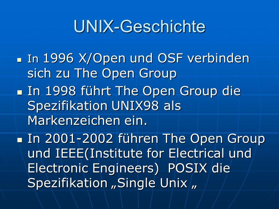 UNIX-Geschichte In 1996 X/Open und OSF verbinden sich zu The Open Group In 1996 X/Open und OSF verbinden sich zu The Open Group In 1998 führt The Open