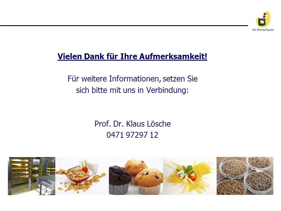 Vielen Dank für Ihre Aufmerksamkeit! Für weitere Informationen, setzen Sie sich bitte mit uns in Verbindung: Prof. Dr. Klaus Lösche 0471 97297 12
