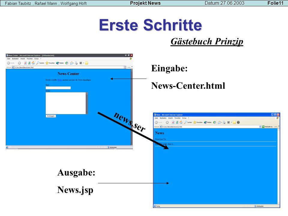Gästebuch Prinzip Erste Schritte Eingabe: News-Center.html news.ser Ausgabe: News.jsp Projekt NewsDatum:27.06.2003 Folie11 Fabian Taubitz, Rafael Mann