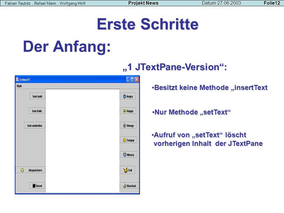 Der Anfang: Erste Schritte Projekt NewsDatum:27.06.2003 Folie12 Fabian Taubitz, Rafael Mann, Wolfgang Höft Projekt NewsDatum:27.06.2003 Folie12 1 JTex