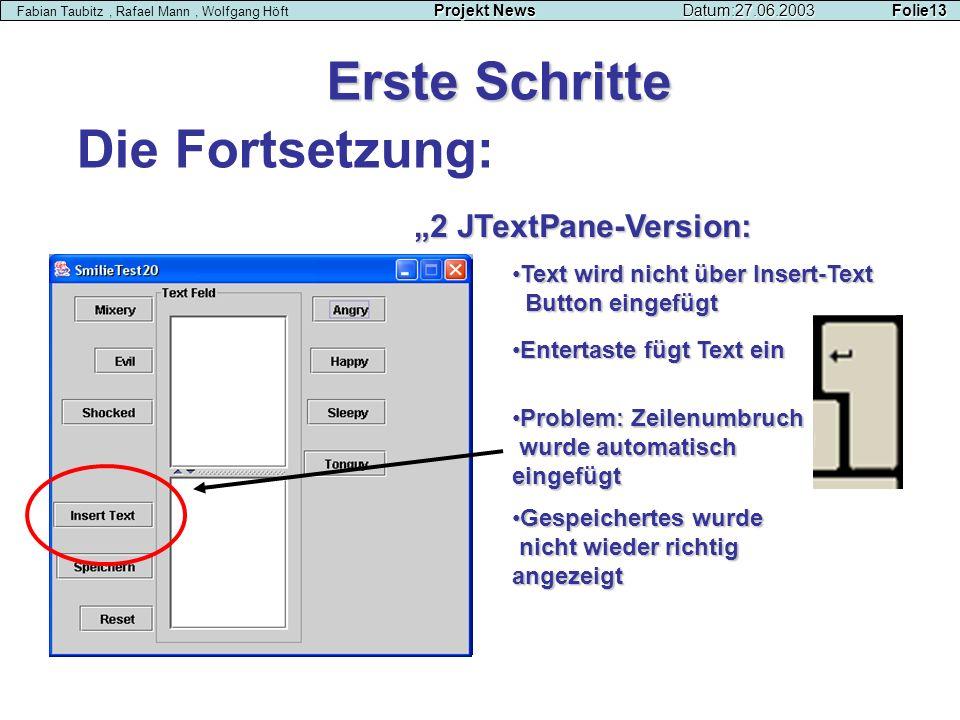 Die Fortsetzung: Erste Schritte Projekt NewsDatum:27.06.2003 Folie13 Fabian Taubitz, Rafael Mann, Wolfgang Höft Projekt NewsDatum:27.06.2003 Folie13 2