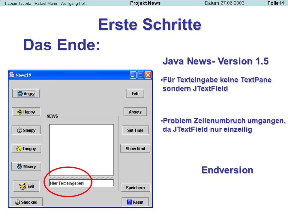 Erste Schritte Projekt NewsDatum:27.06.2003 Folie14 Fabian Taubitz, Rafael Mann, Wolfgang Höft Projekt NewsDatum:27.06.2003 Folie14 Für Texteingabe ke