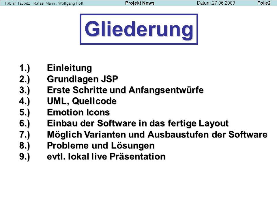 Gliederung Projekt NewsDatum:27.06.2003 Folie2 Fabian Taubitz, Rafael Mann, Wolfgang Höft Projekt NewsDatum:27.06.2003 Folie2 1.)Einleitung 2.)Grundla