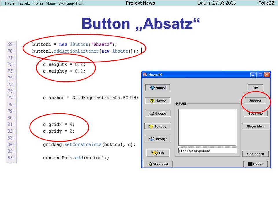 Button Absatz Projekt NewsDatum:27.06.2003 Folie22 Fabian Taubitz, Rafael Mann, Wolfgang Höft Projekt NewsDatum:27.06.2003 Folie22