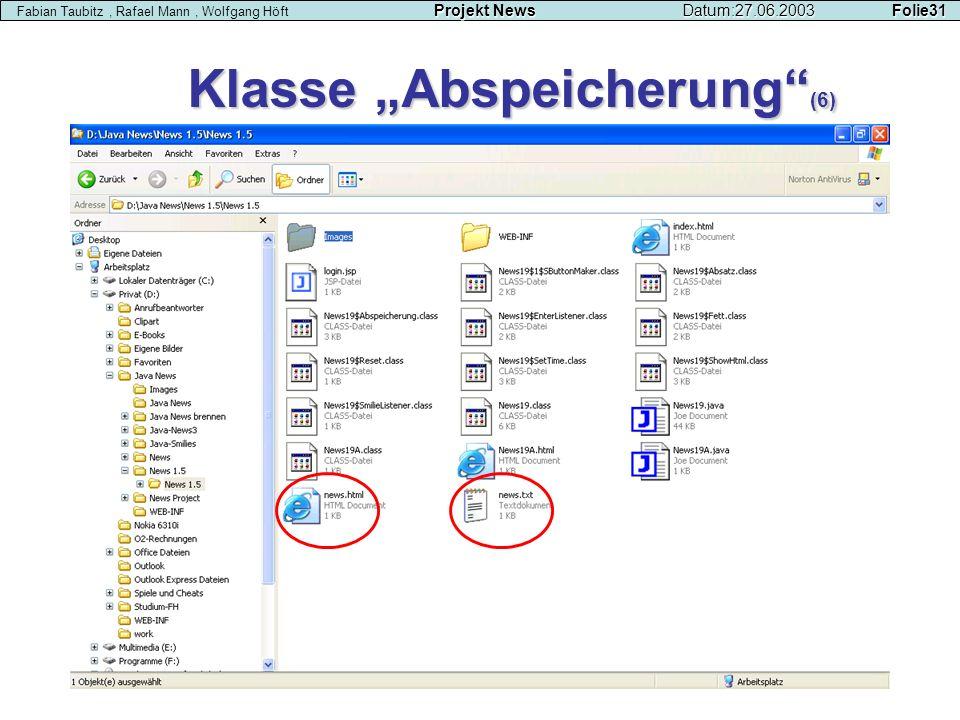 Klasse Abspeicherung (6) Projekt NewsDatum:27.06.2003 Folie31 Fabian Taubitz, Rafael Mann, Wolfgang Höft Projekt NewsDatum:27.06.2003 Folie31
