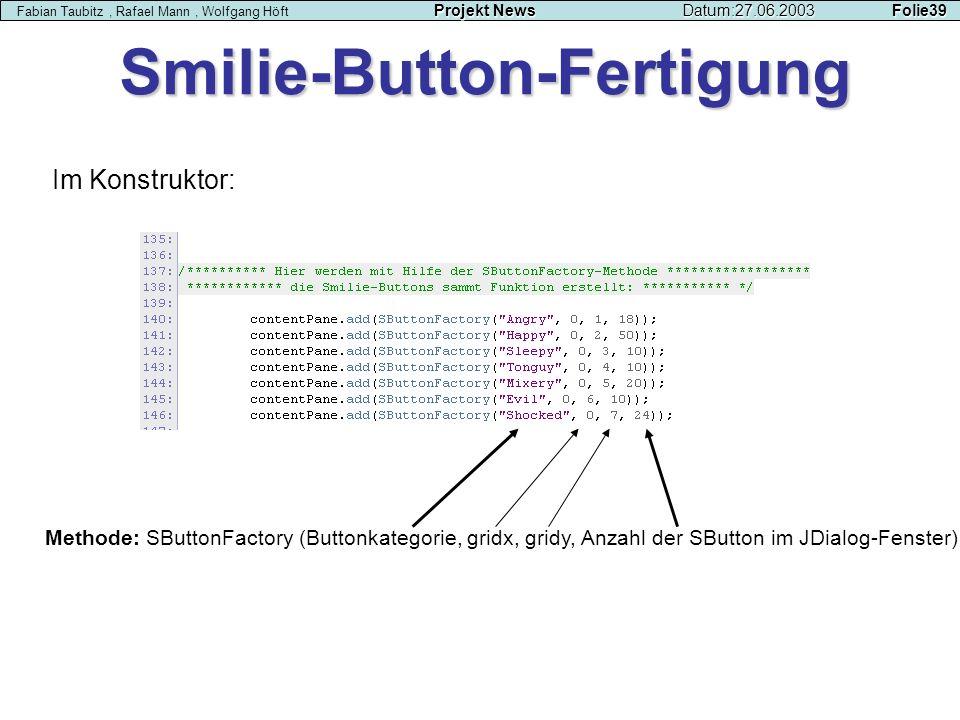 Smilie-Button-Fertigung Projekt NewsDatum:27.06.2003 Folie39 Fabian Taubitz, Rafael Mann, Wolfgang Höft Projekt NewsDatum:27.06.2003 Folie39 Im Konstr