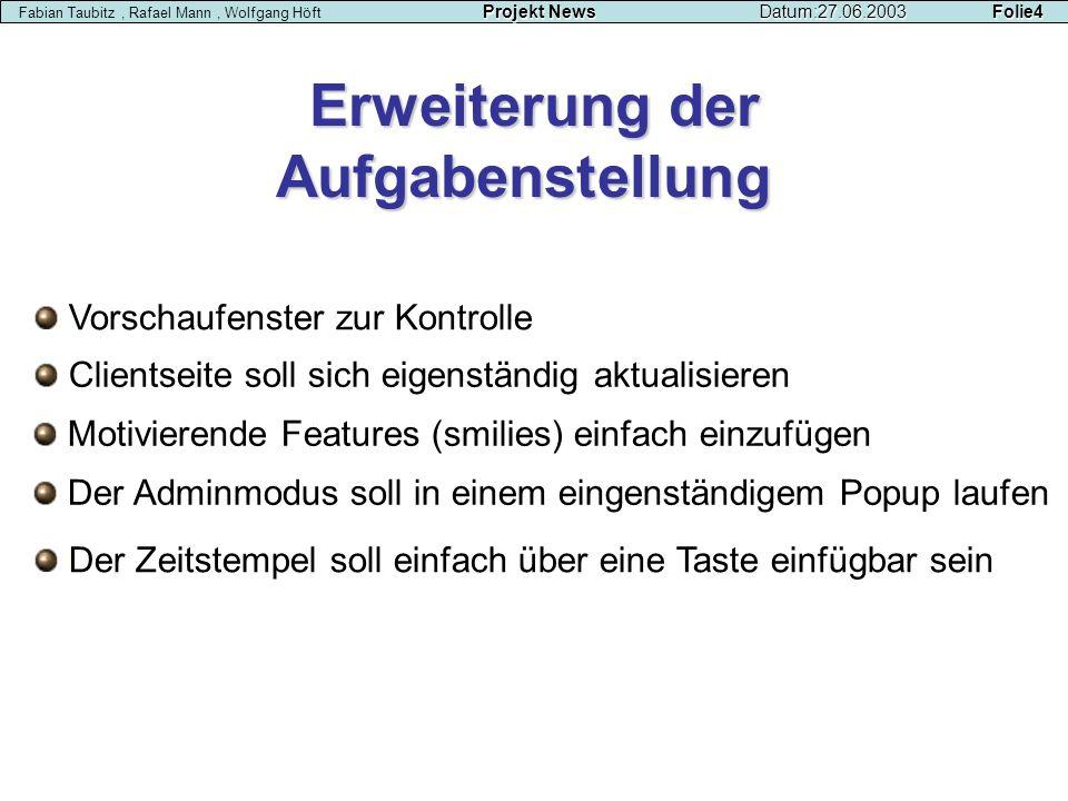 Projekt NewsDatum:27.06.2003 Folie4 Fabian Taubitz, Rafael Mann, Wolfgang Höft Projekt NewsDatum:27.06.2003 Folie4 Erweiterung der Aufgabenstellung Vo