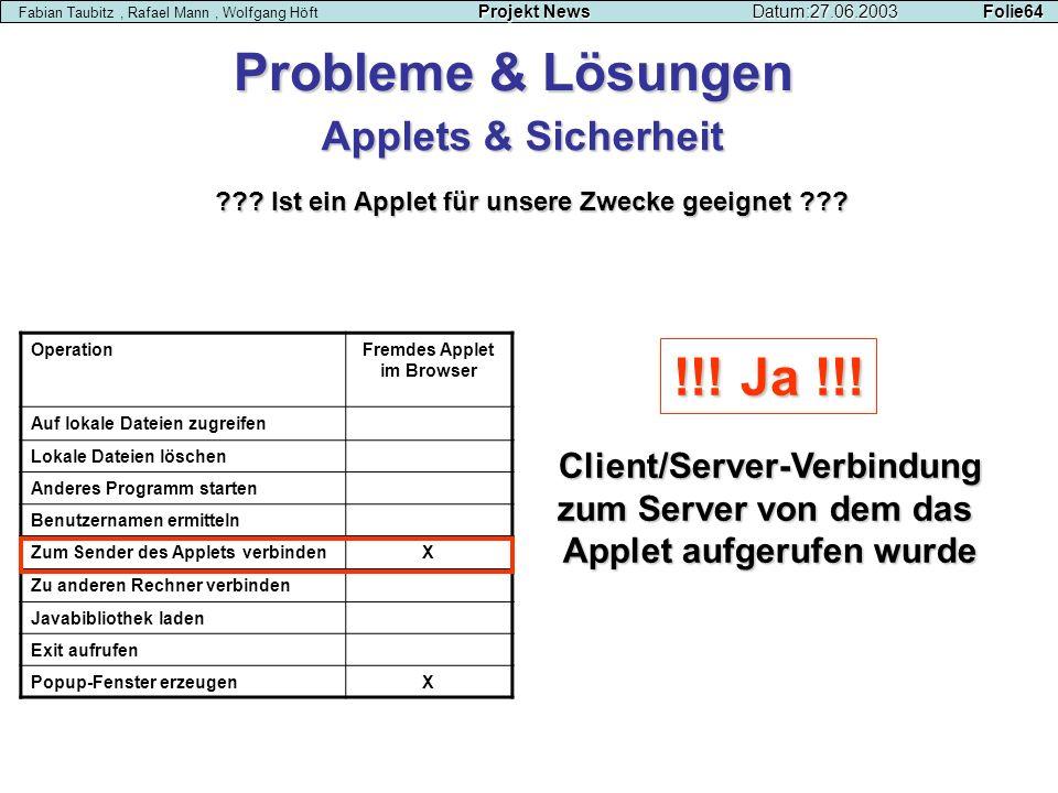 Projekt NewsDatum:27.06.2003 Folie64 Fabian Taubitz, Rafael Mann, Wolfgang Höft Projekt NewsDatum:27.06.2003 Folie64 OperationFremdes Applet im Browse