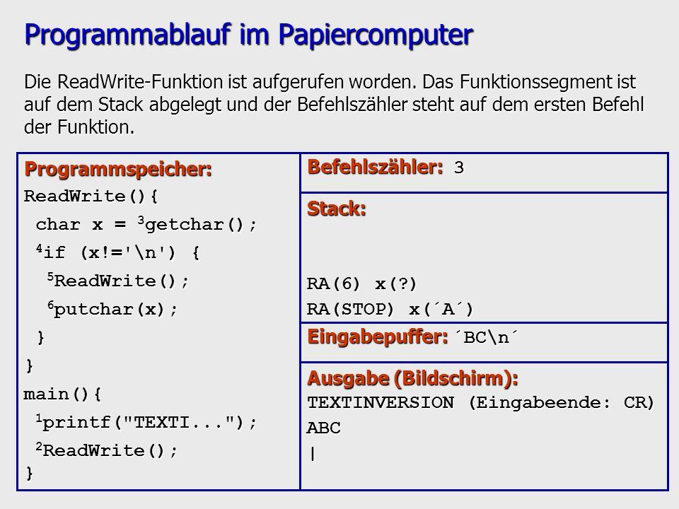 Programmablauf im Papiercomputer Die ReadWrite-Funktion ist aufgerufen worden. Das Funktionssegment ist auf dem Stack abgelegt und der Befehlszähler s