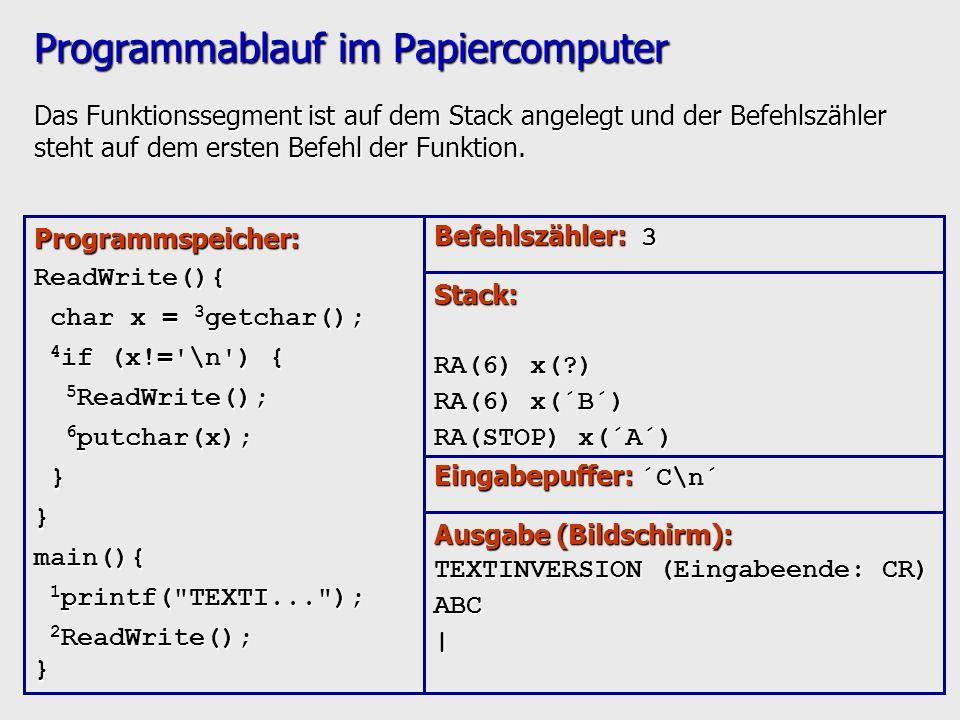 Programmablauf im Papiercomputer Das Funktionssegment ist auf dem Stack angelegt und der Befehlszähler steht auf dem ersten Befehl der Funktion. Progr