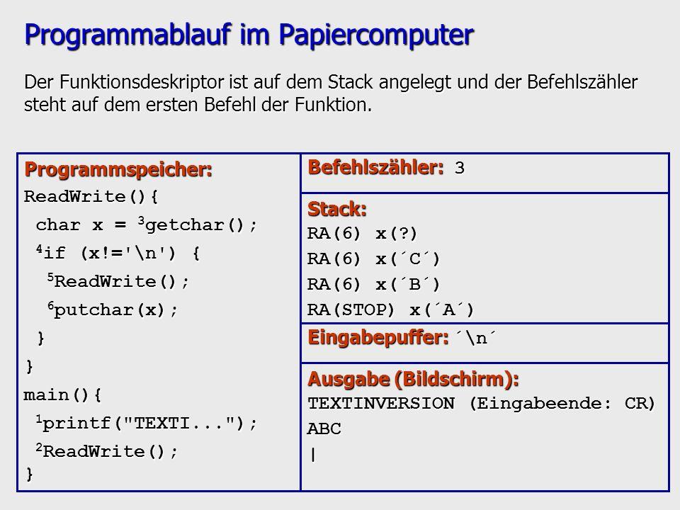 Programmablauf im Papiercomputer Der Funktionsdeskriptor ist auf dem Stack angelegt und der Befehlszähler steht auf dem ersten Befehl der Funktion. Pr