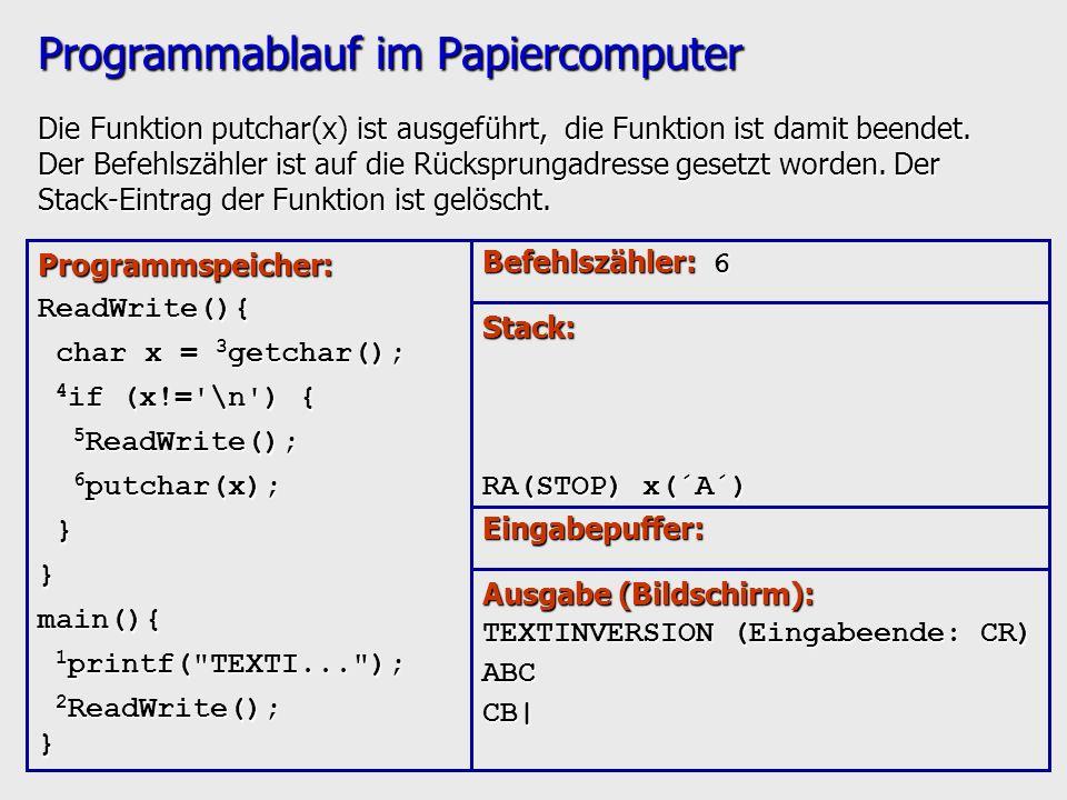 Programmablauf im Papiercomputer Die Funktion putchar(x) ist ausgeführt, die Funktion ist damit beendet. Der Befehlszähler ist auf die Rücksprungadres