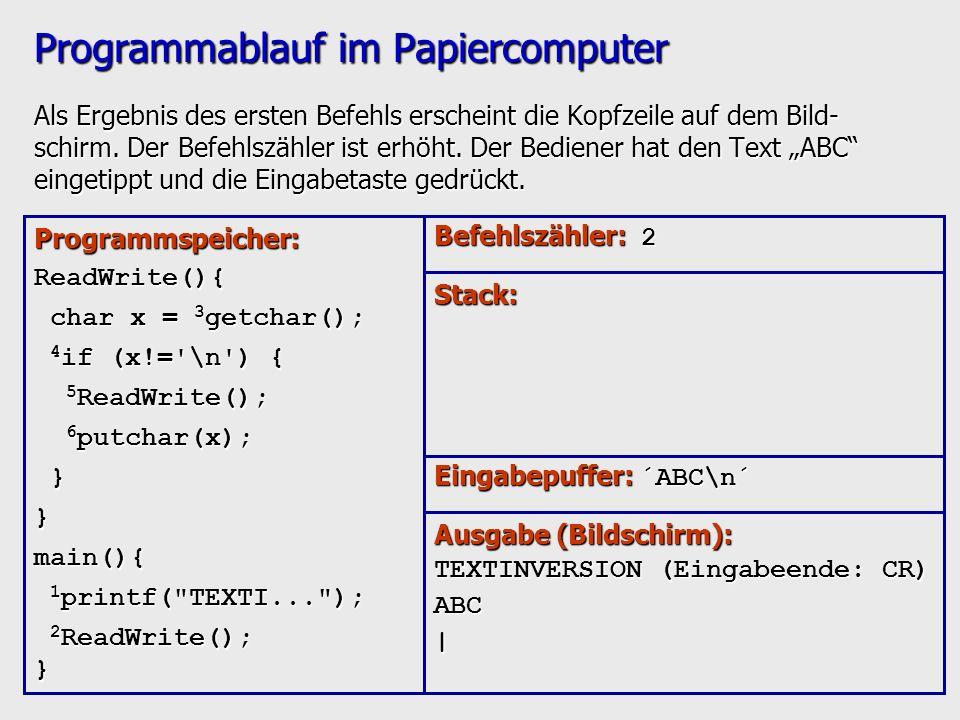 Programmablauf im Papiercomputer Als Ergebnis des ersten Befehls erscheint die Kopfzeile auf dem Bild- schirm. Der Befehlszähler ist erhöht. Der Bedie