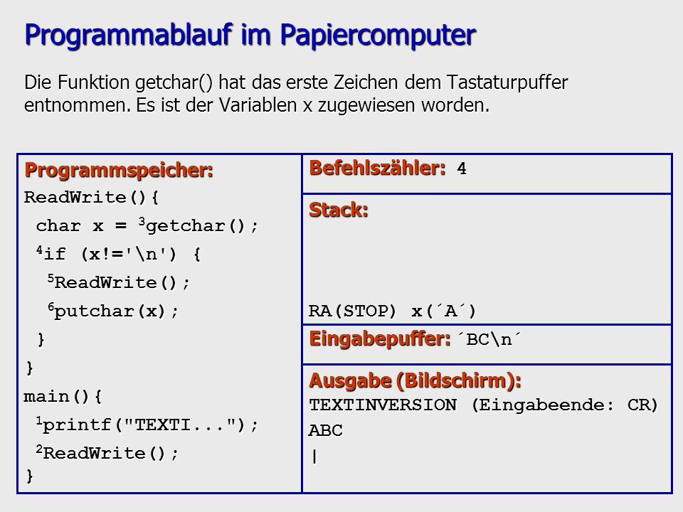 Programmablauf im Papiercomputer Die Funktion getchar() hat das erste Zeichen dem Tastaturpuffer entnommen. Es ist der Variablen x zugewiesen worden.