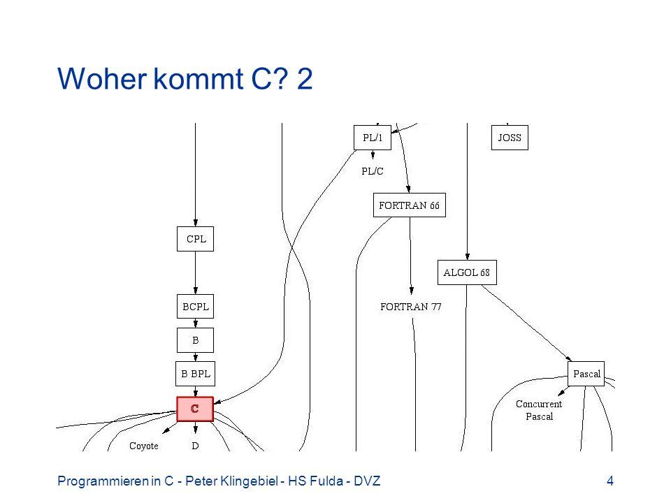 Programmieren in C - Peter Klingebiel - HS Fulda - DVZ4 Woher kommt C? 2